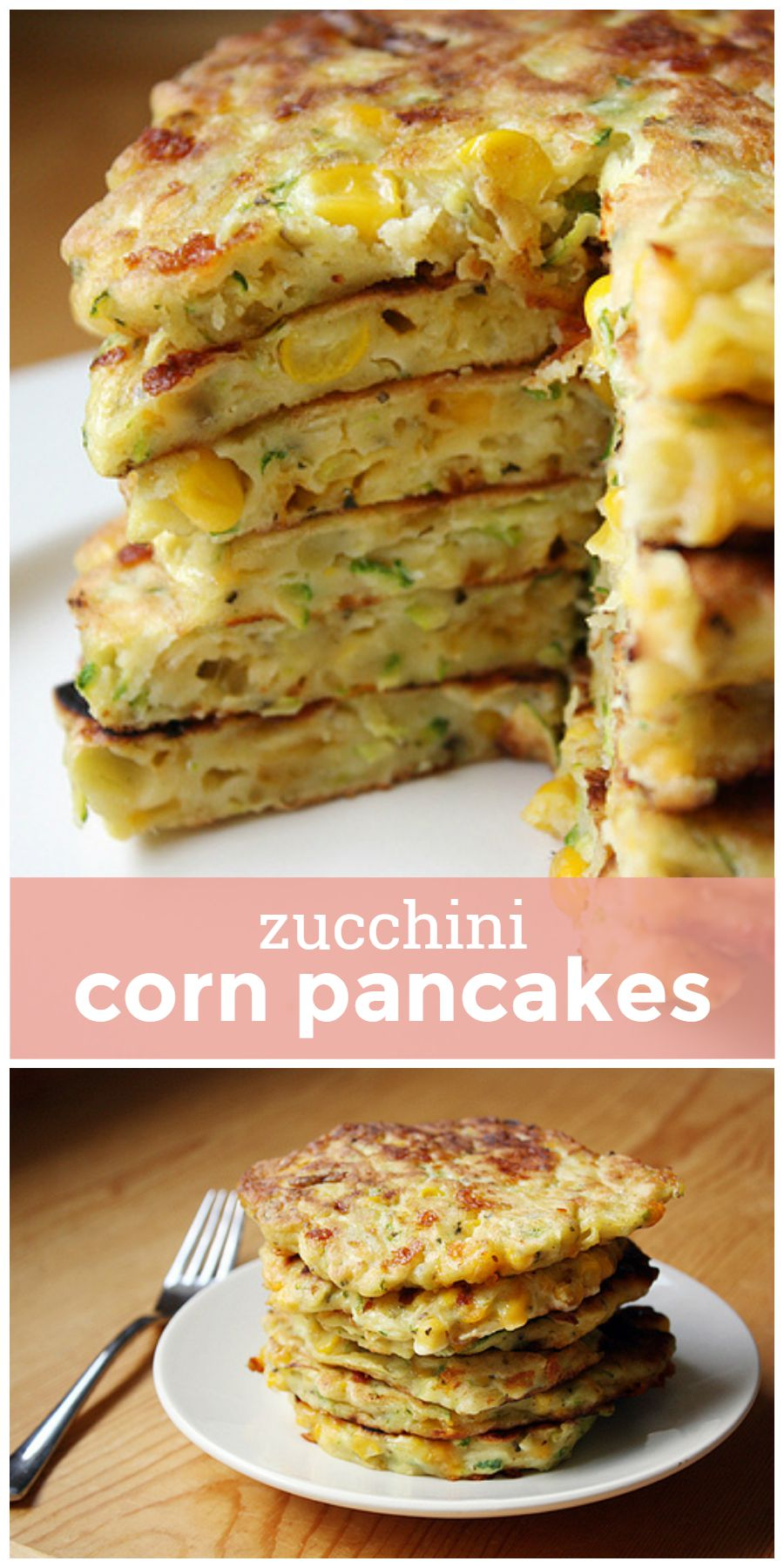 Zucchini Corn Pancakes -- fresh shredded zucchini and sweet corn come together in these easy and flavorful veggie-packed pancakes! girlversusdough.com @girlversusdough
