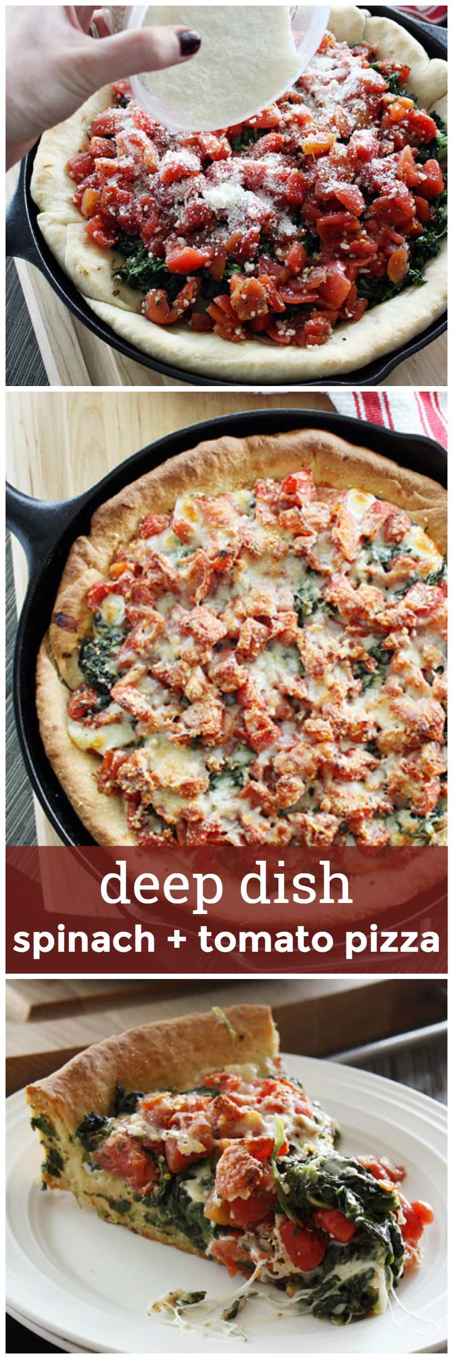 Deep Dish Spinach and Tomato Pizza -- a flaky, deep dish-style crust filled with tomatoes, spinach and a whole lot of cheese. girlversusdough.com @girlversusdough