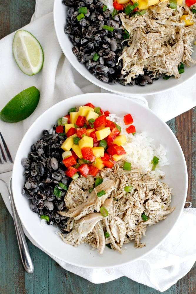 caribbean jerk chicken rice bean bowls