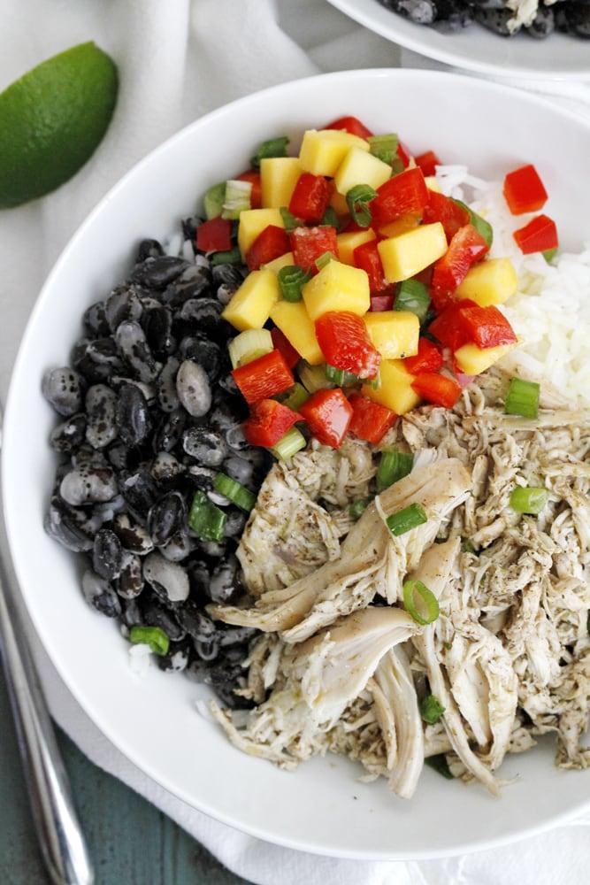caribbean jerk chicken bean rice bowls