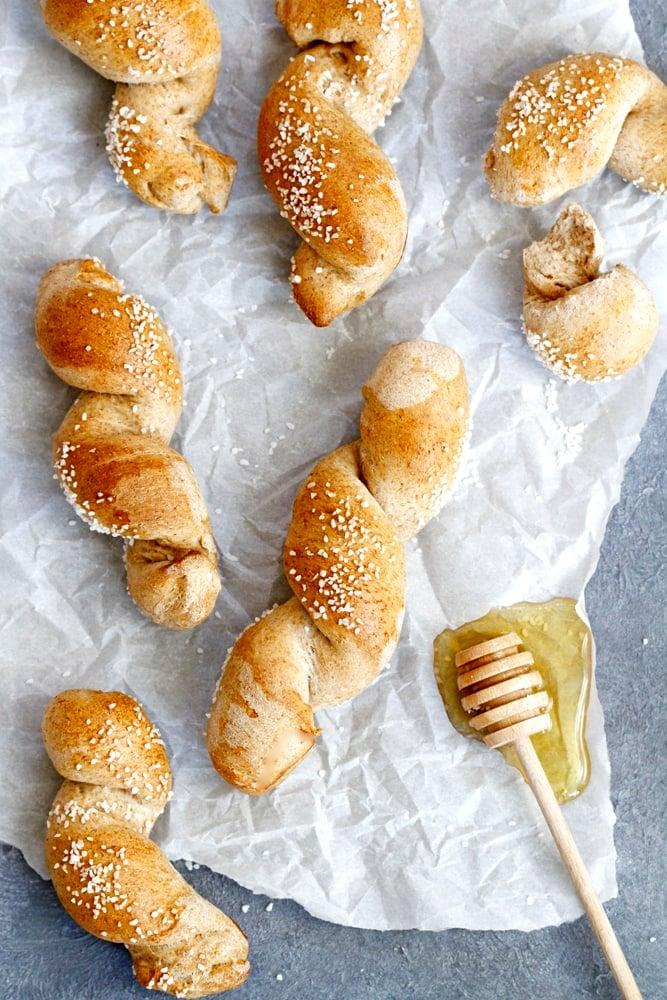 honey wheat pretzel twists on parchment paper