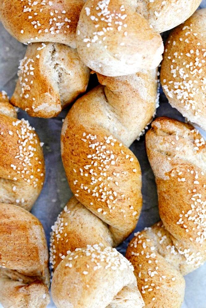 close up of honey wheat pretzel twists