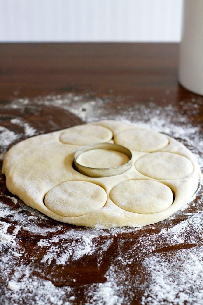 cutting brioche doughnut dough