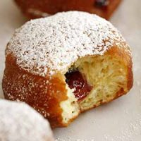 brioche doughnut with blackberry jam