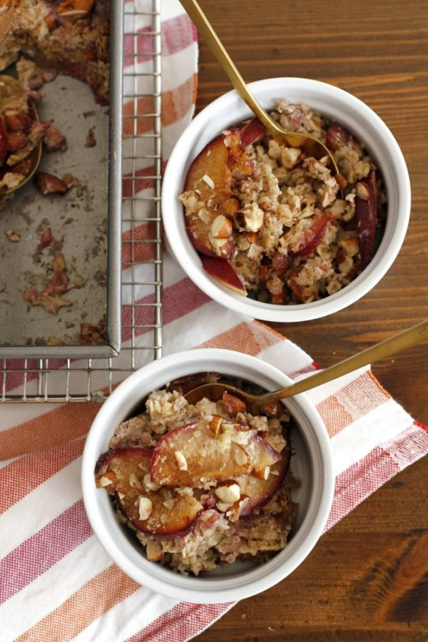 cinnamon plum baked oatmeal in ramekins