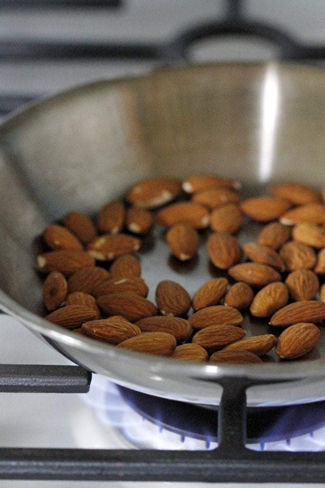 almonds in pan on stove