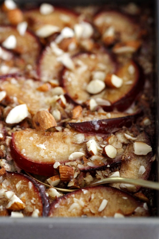 close up cinnamon plum baked oatmeal