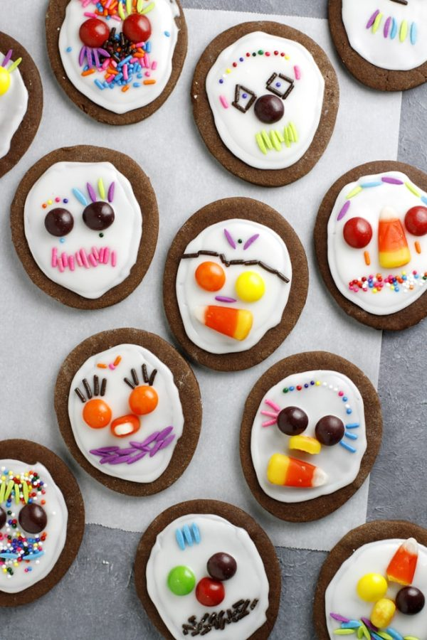 day of the dead cookies on parchment paper