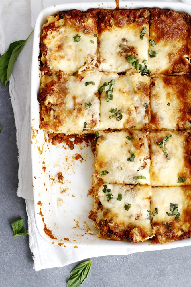 baked lighter lasagna bolognese in baking dish