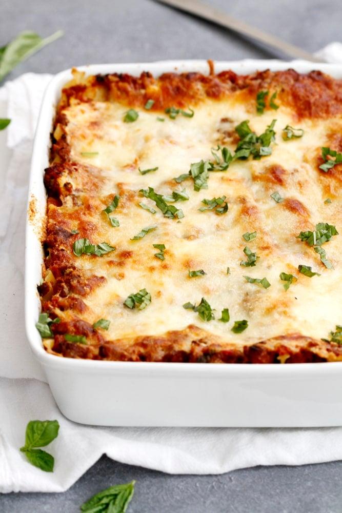 baked lighter lasagna bolognese