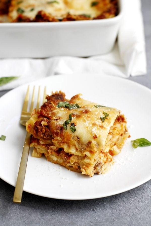 lighter lasagna bolognese on plate
