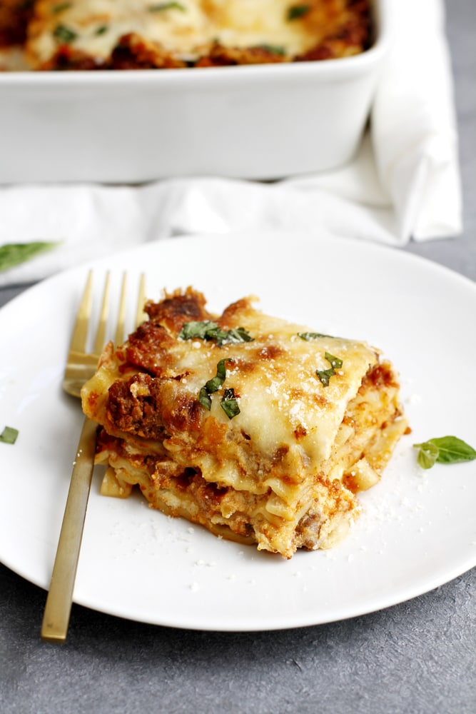 lighter lasagna bolognese on plate