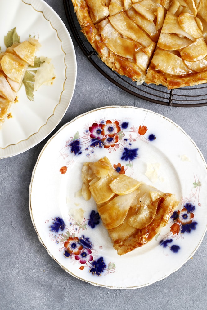 slice of salted caramel pear phyllo tart on a plate