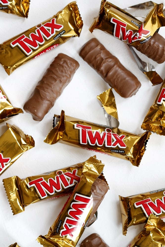 twix wrappers on table