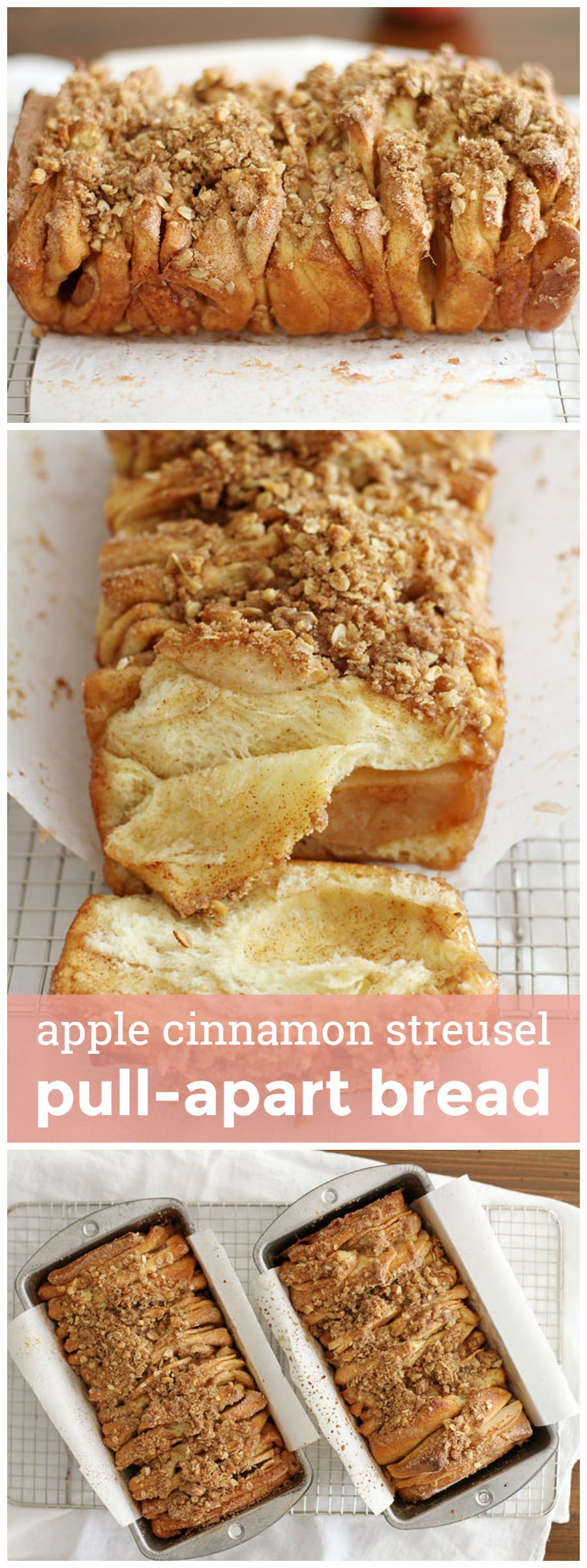 Apple Cinnamon Streusel Pull-Apart Bread -- a double-batch of sweet, cinnamon-y, fruity, flavorful streusel-topped carb goodness. girlversusdough.com @girlversusdough
