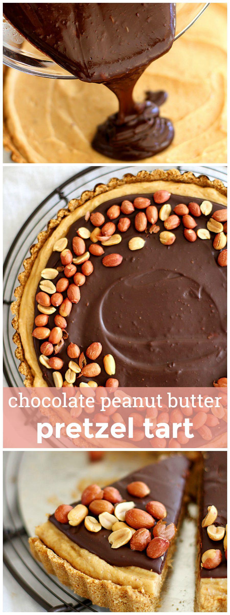 Chocolate Peanut Butter Pretzel Tart -- A giant, no-bake peanut butter ...