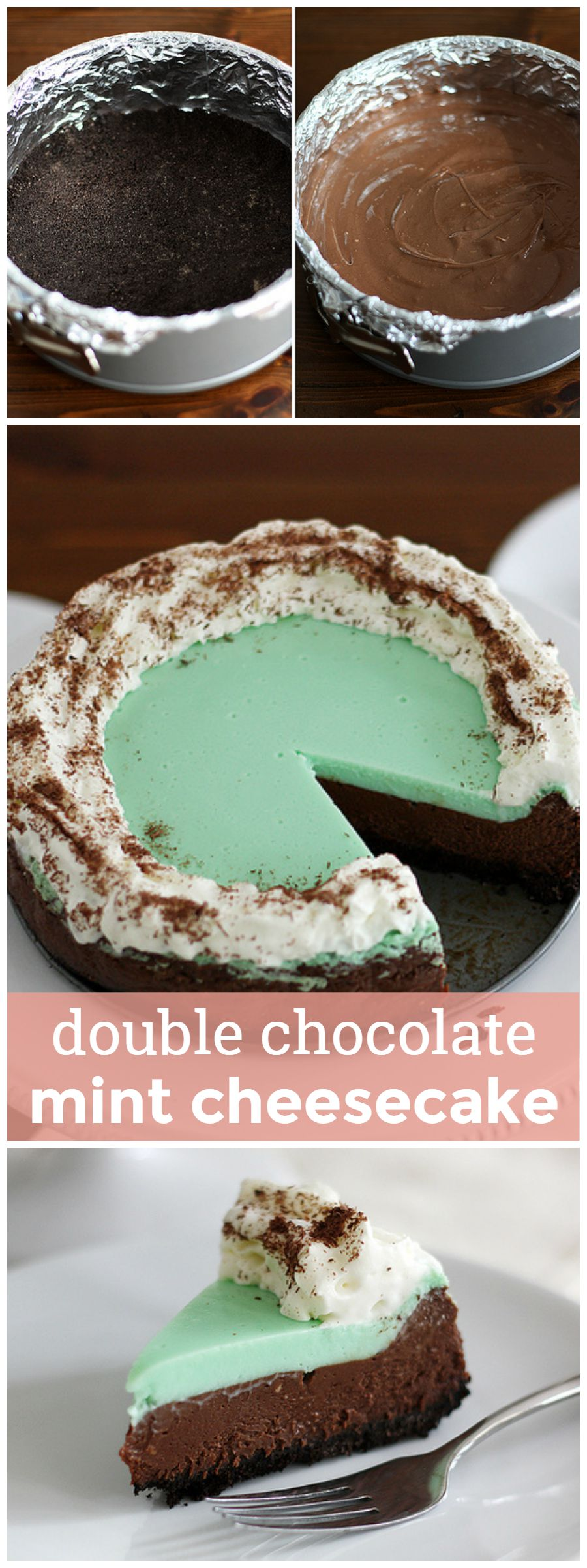 Double Chocolate Mint Cheesecake -- A decadent and delicious double-layer cheesecake flavored with chocolate and mint. girlversusdough.com @girlversusdough