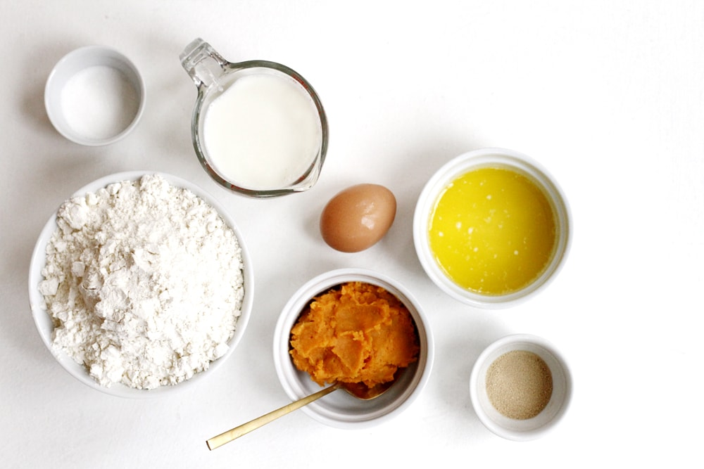 ingredients for buttermilk rolls on a table