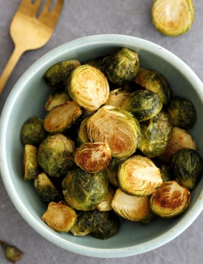 dijon roasted brussels sprouts in a bowl