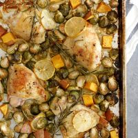 lemon rosemary chicken thighs on sheet pan