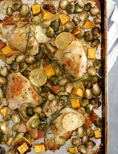 lemon rosemary chicken thighs on sheet pan