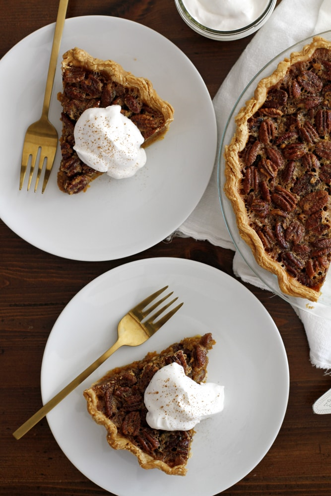 pecan pumpkin pie slices on plates
