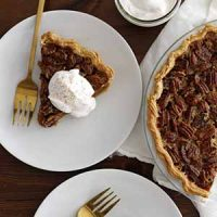 pecan pumpkin pie on plate