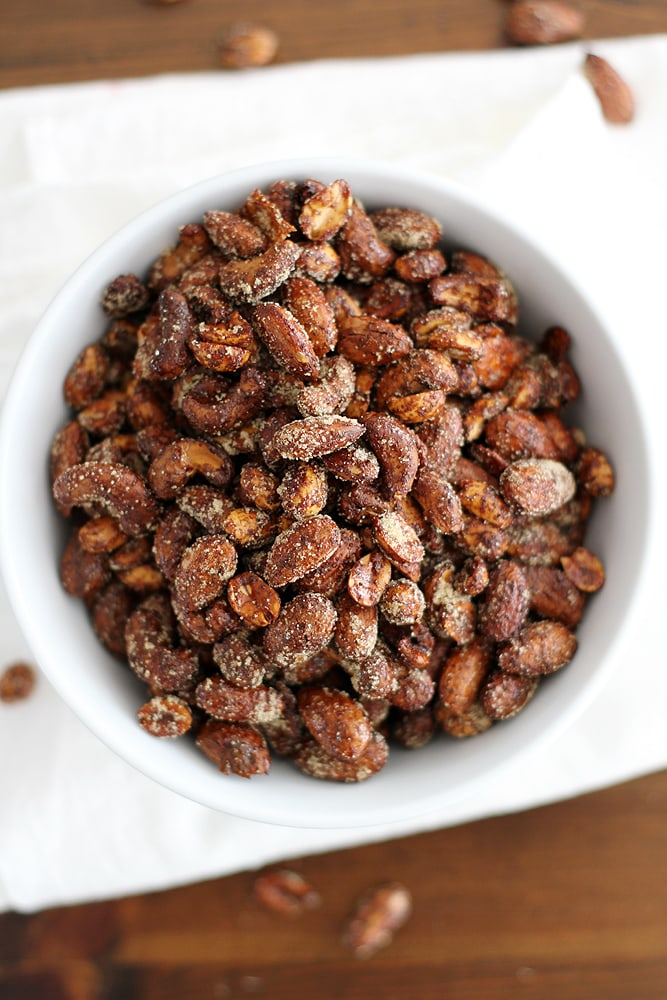 Moroccan spiced nuts in bowl