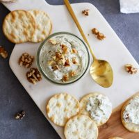nutty blue cheese spread with crackers