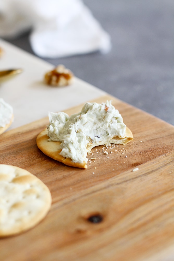 nutty blue cheese spread on cracker