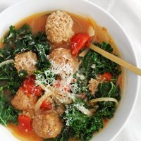 lighter italian wedding soup in bowl