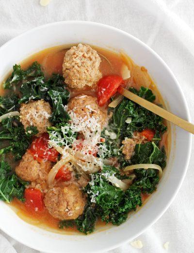 lighter italian wedding soup in bowl