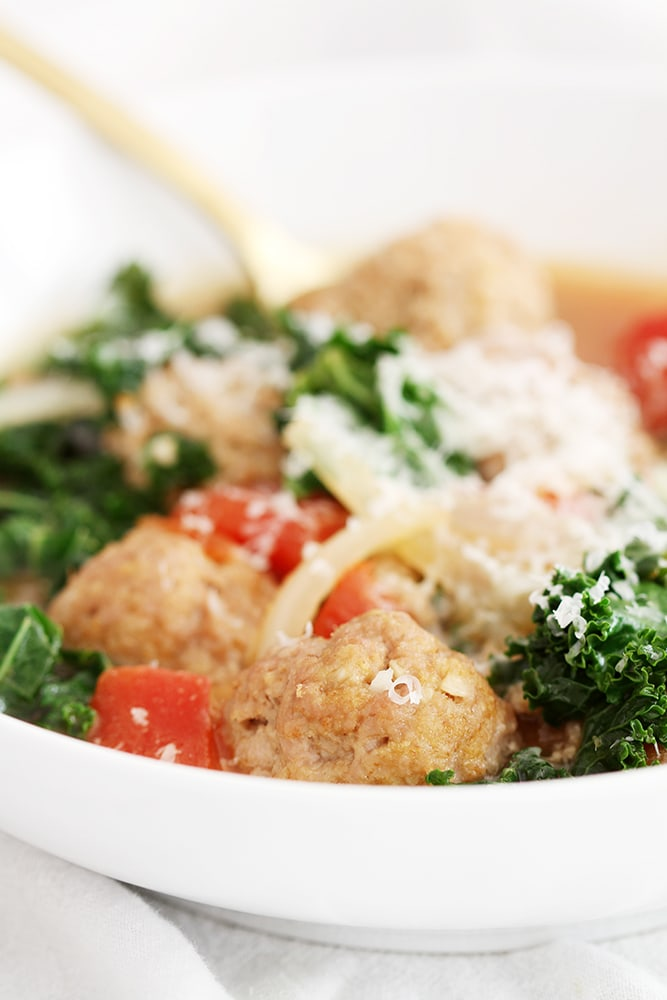 close up lighter italian wedding soup in bowl