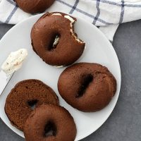 pumpernickel bagels on a plate