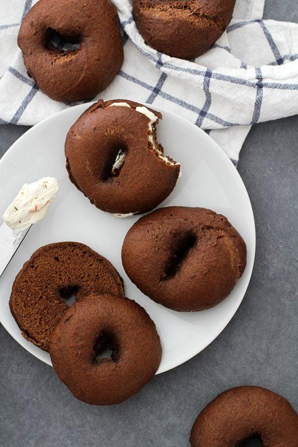 pumpernickel bagels on a plate
