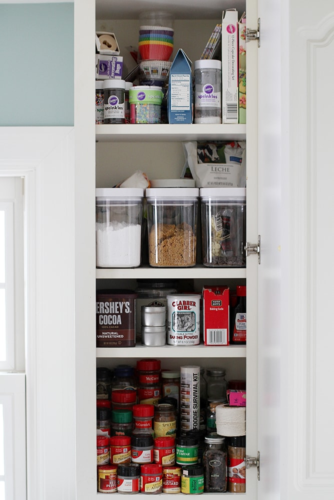 baking supplies in cabinet