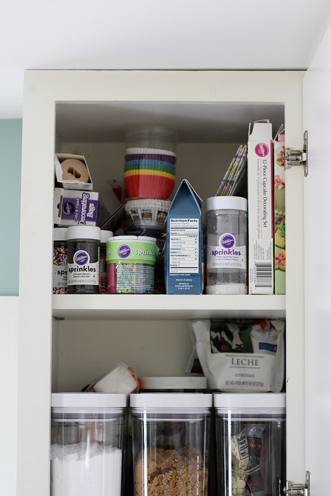 cabinet with baking supplies
