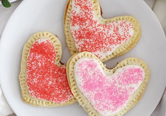 heart shaped strawberry pop tarts
