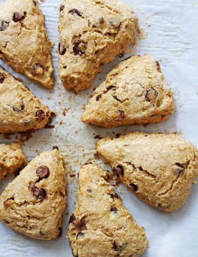 whole wheat chocolate chip banana scones on parchment paper