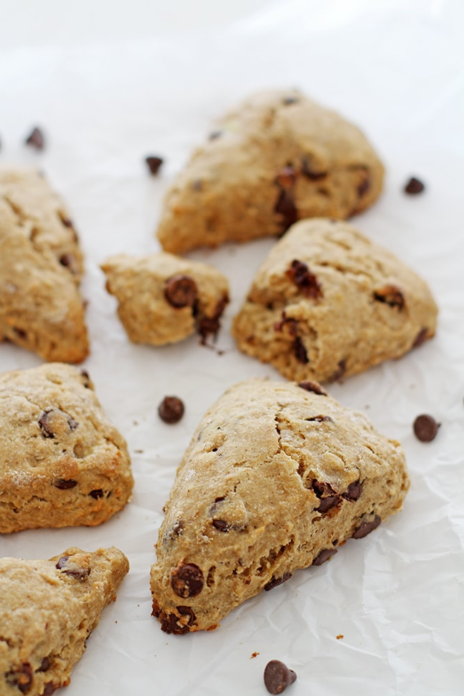chocolate chip banana scones on parchment paper