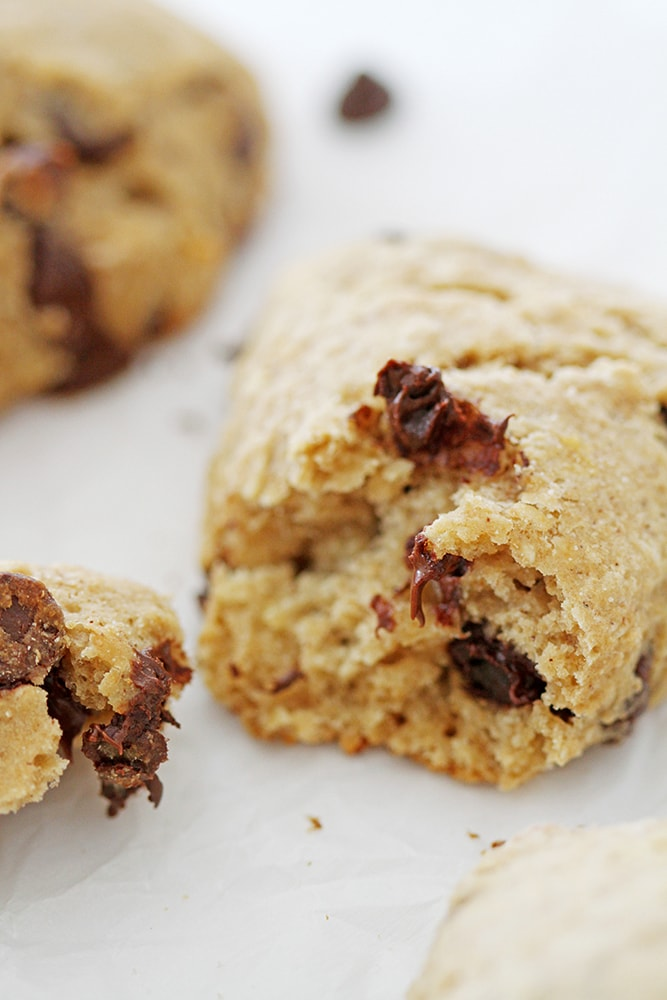 piece of chocolate chip banana scone