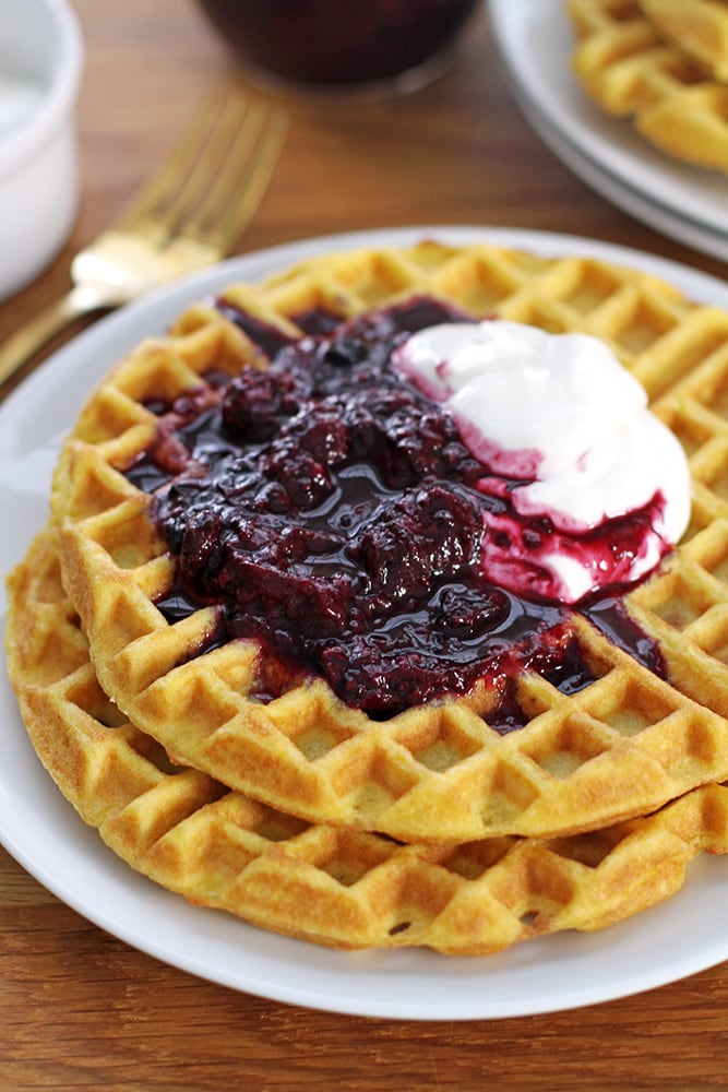coconut flour waffles on plate