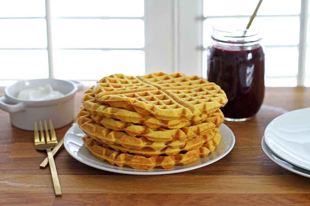 coconut flour waffles in stack on plate