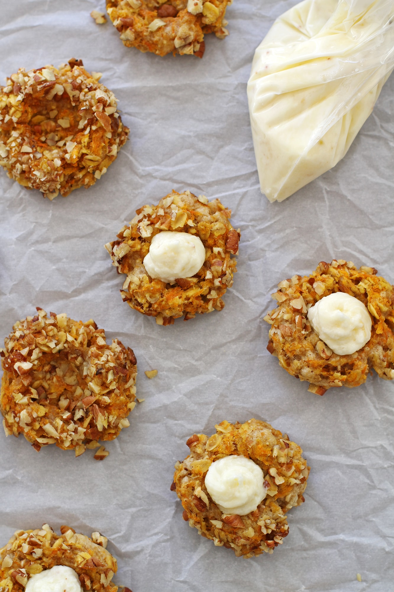 filling the carrot cake thumbprint cookies