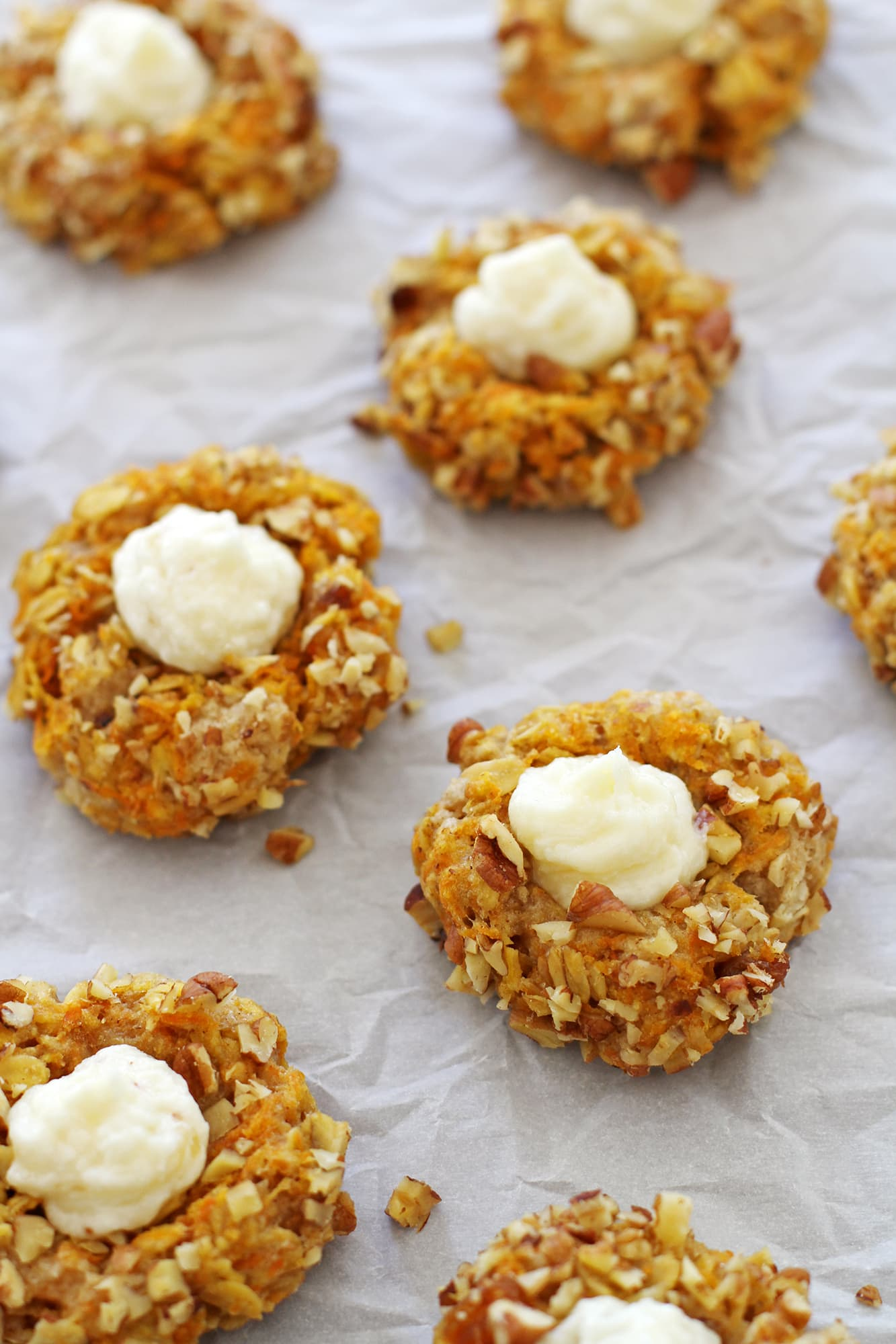 close up carrot cake thumbprint cookies