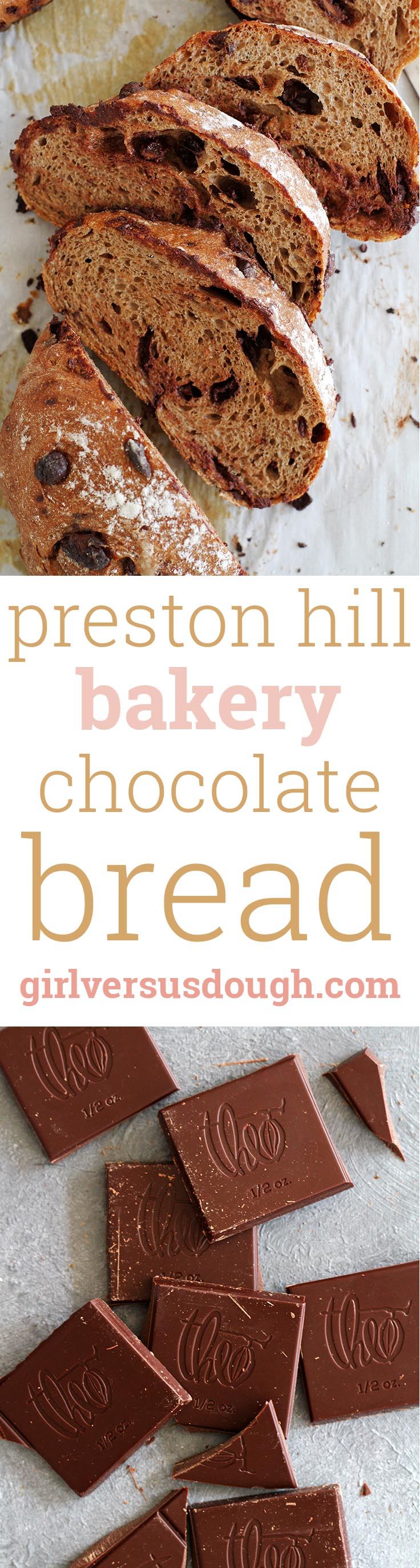 Preston Hill Bakery Chocolate Bread -- A recipe for soft, chewy, slightly sweet bread studded with bits of quality dark and milk chocolate, straight from the Theo Chocolate cookbook. girlversusdough.com @girlversusdough