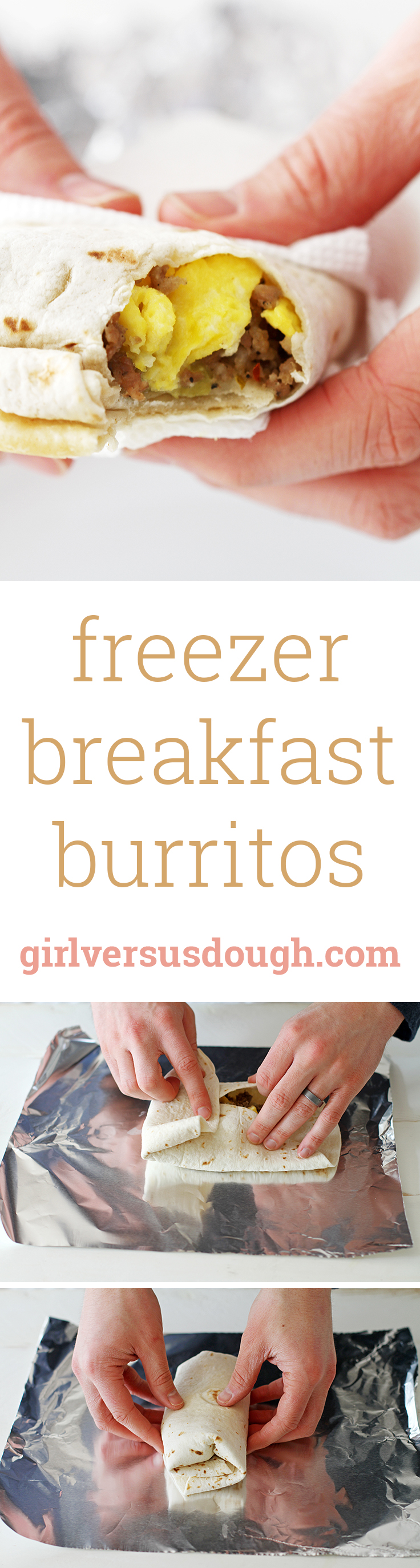 Freezer Breakfast Burritos -- This big-batch recipe is easy to make, super satisfying and perfect for on-the-go breakfasts! girlversusdough.com @girlversusdough