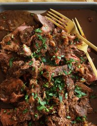 mocha rubbed slow cooker shredded beef