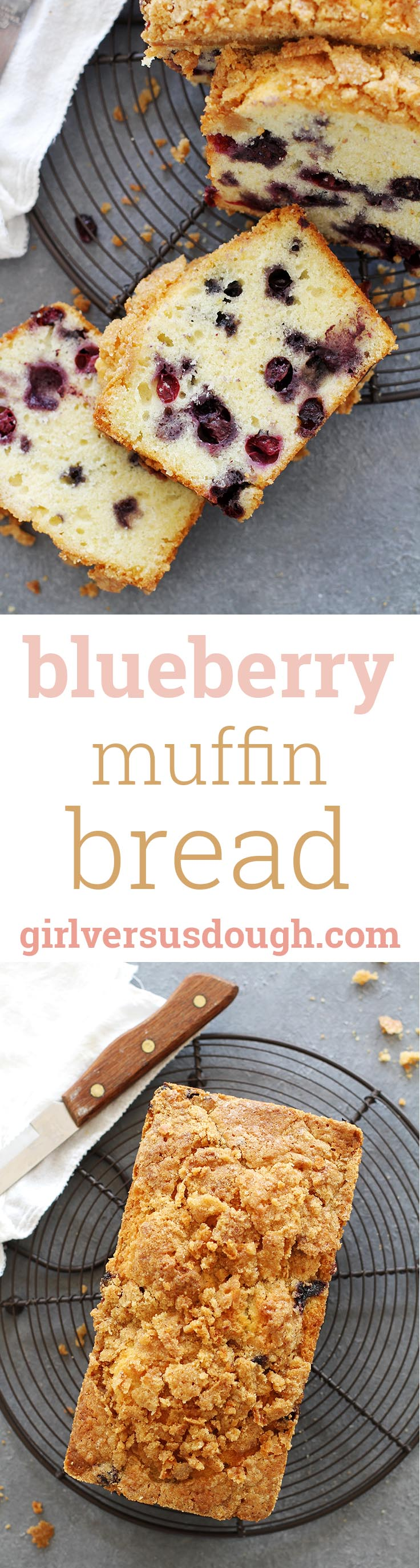Blueberry Lemon Muffin Bread -- soft, moist and flavorful quick bread with a crunch topping. Perfect for breakfast or dessert! girlversusdough.com @girlversusdough