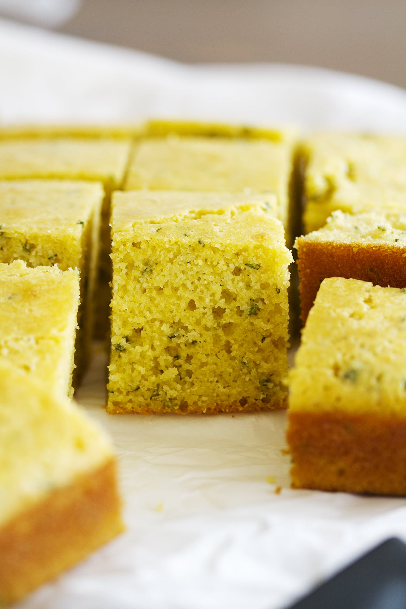 herb cornbread sliced